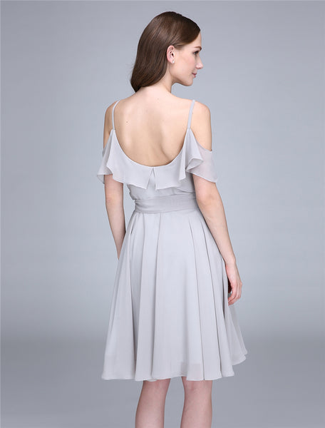 Bridesmaid Dress- Short Chiffon Dress with Ruffled Blouson Bodice and Cold Shoulder Detail - RDevine Fashion (Wedding & Bridal)