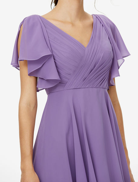 Bridesmaid Dress-Chiffon Side Draped Dress with Draped Sleeves - RDevine Fashion (Wedding & Bridal)