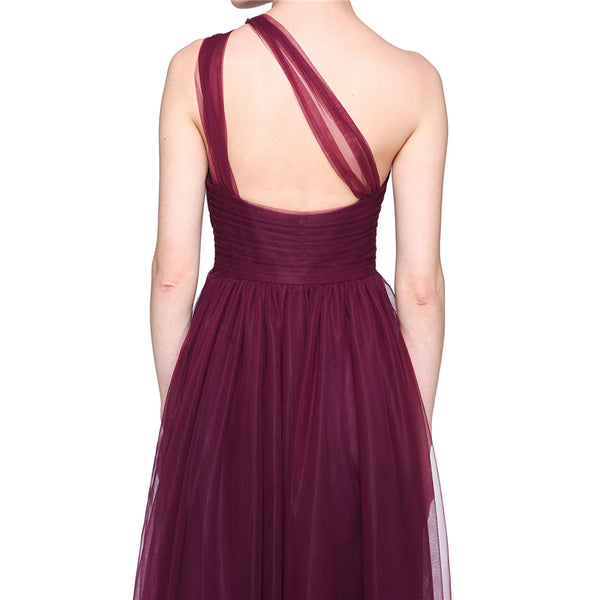 Bridesmaid Dress- Chiffon One-Shoulder Dress with Sheer Illusion Shoulder & Pleated Bodice - RDevine Fashion (Wedding & Bridal)