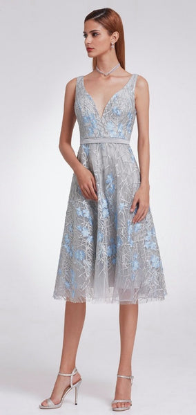 Bridesmaid Dress- Sleeveless A Line Dress with Millennial Blue Floral Embroidery - RDevine Fashion (Wedding & Bridal)