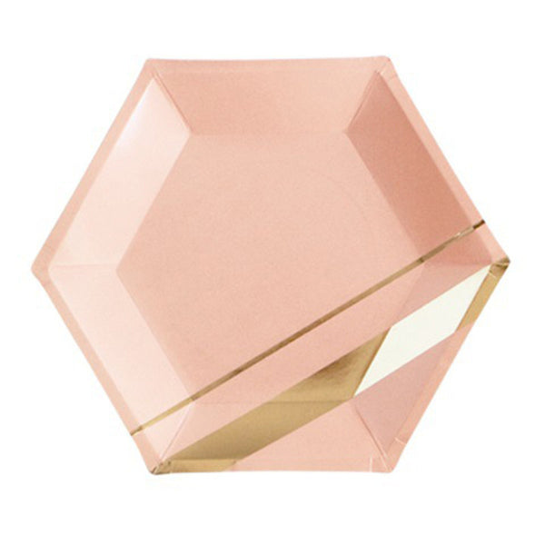 Pink & Marble Disposable Tableware with Gold Accents - RDevine Fashion (Wedding & Bridal)