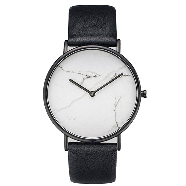 Marble-Faced Minimalist Watch with Leather Band - RDevine Fashion (Wedding & Bridal)