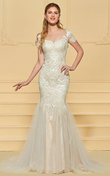 Lace Tulle Fit Flare Wedding Gown With Detailed Lace Applique And