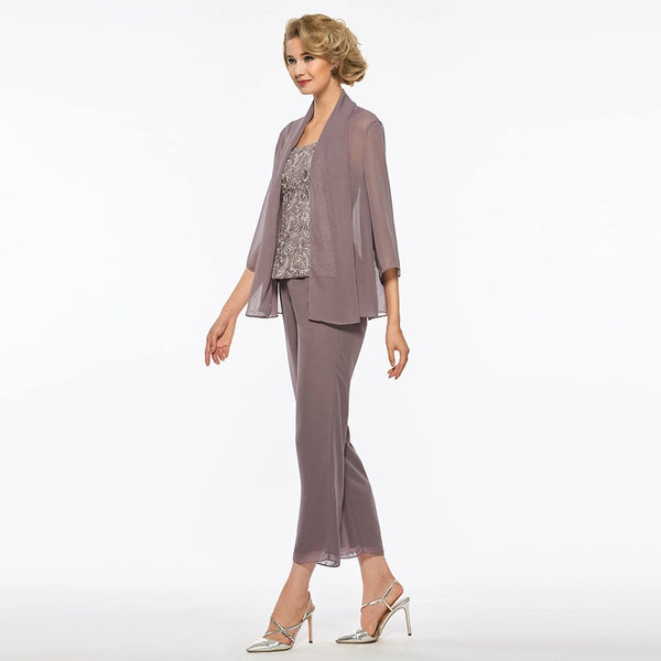 Mother of the Bride: Three-Piece Lace & Chiffon Pantsuit