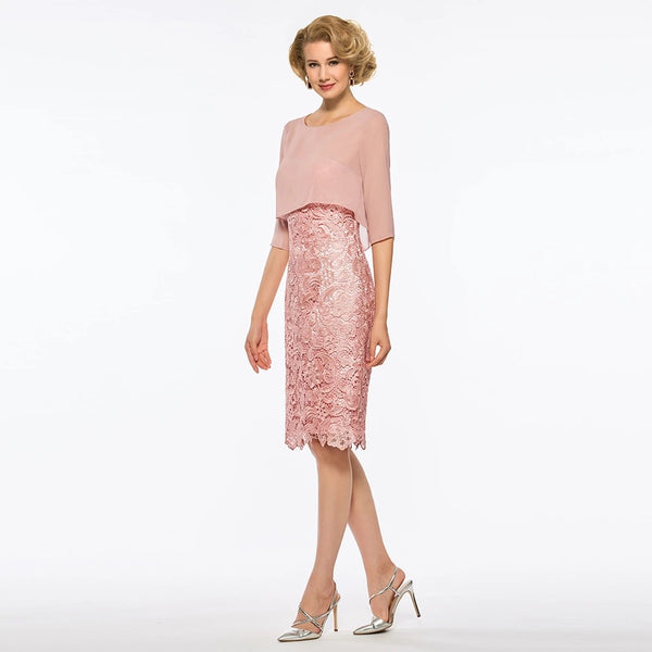 7eff08c7b689f Mother of the Bride: Strapless Sheath Lace Dress with Sheer Chiffon Half  Jacket