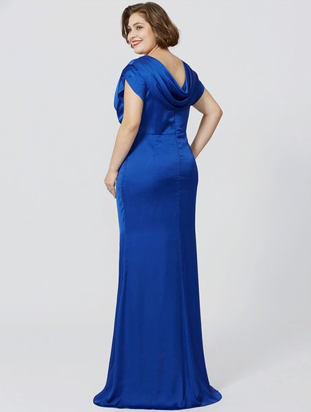Mother of the Bride- Satin Floor Length Dress with Side-Ruching - RDevine Fashion (Wedding & Bridal)