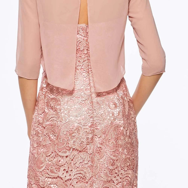 Mother of the Bride: Strapless Sheath Lace Dress with Sheer Chiffon Half Jacket