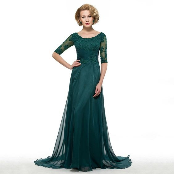 Mother of the Bride- Chiffon Floor Length Dress with Ruched Bodice & Three Quarter Sleeves - RDevine Fashion (Wedding & Bridal)