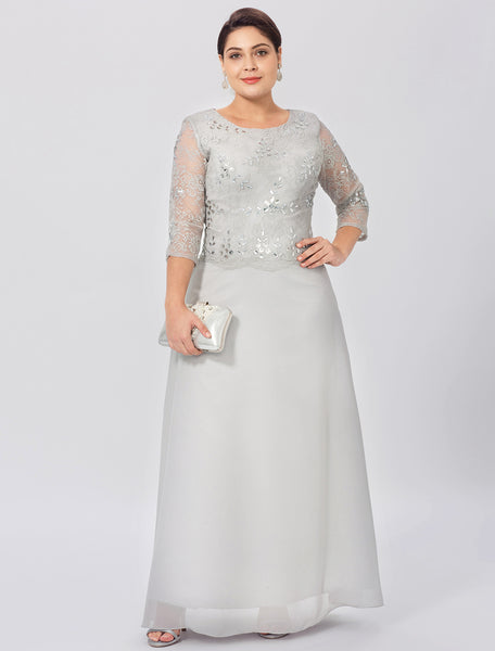 Mother of the Bride- Lace Chiffon Sheath Dress with Crystal Detail on Bodice - RDevine Fashion (Wedding & Bridal)