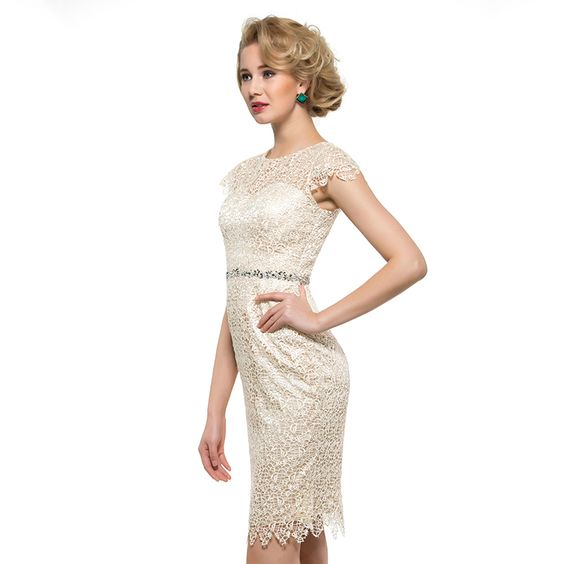 Mother of the Bride- Lace Column Knee Length Column Dress with Illusion Neckline - RDevine Fashion (Wedding & Bridal)