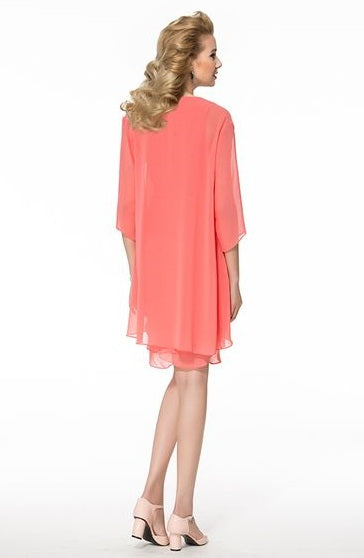 Mother of the Bride- Chiffon Column Dress with Lightweight Shawl - RDevine Fashion (Wedding & Bridal)