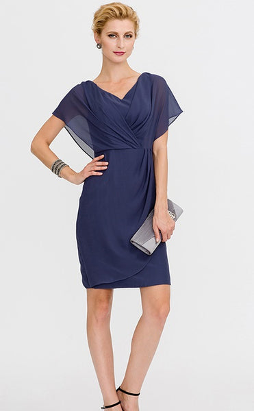 Mother of the Bride- Chiffon Knee Length Faux Wrap Dress with Batwing Sleeves - RDevine Fashion (Wedding & Bridal)