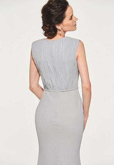 Mother of the Bride- Dove Gray Satin Crepe Sleeveless Sheath Dress with Pleated Bodice - RDevine Fashion (Wedding & Bridal)