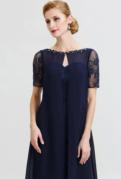 Mother of the Bride- Chiffon Knee Length Dress with Beaded Bateau Neckline - RDevine Fashion (Wedding & Bridal)