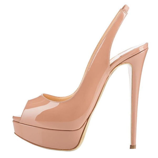 Patent Leather Sling-Back Peep Toe Pump - RDevine Fashion (Wedding & Bridal)