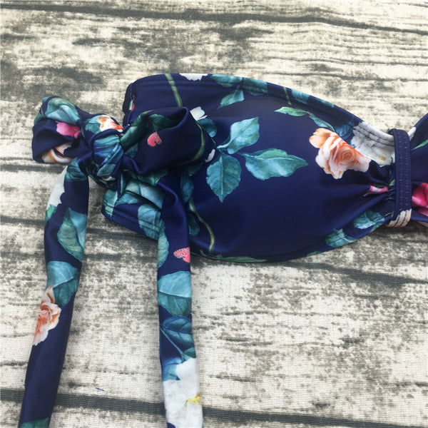 Two-Piece Off-the-Shoulder Floral Bandeau Bikini