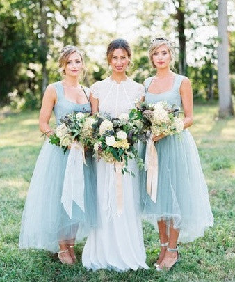 Ice Blue Tulle High-Low Bridesmaid Dress - RDevine Fashion (Wedding & Bridal)