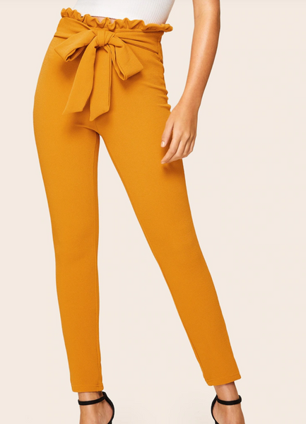 Paper Bag Knot Waist Skinny Trousers