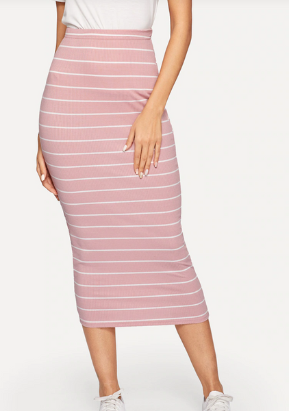 High Waisted Midi Striped Pencil Skirt