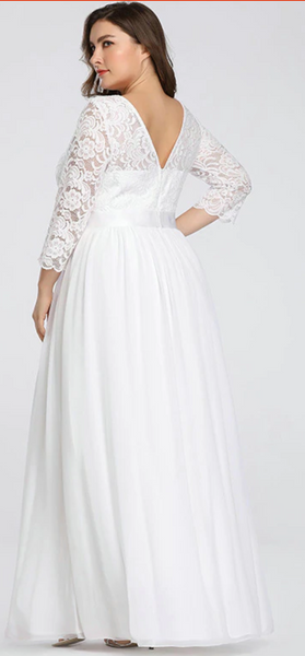 Lace & Tulle Wedding Gown with Sheer Illusion Sleeves and Sweetheart Neckline