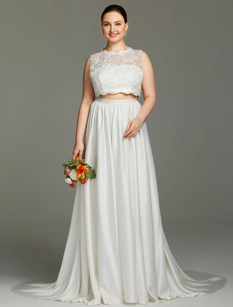 Scalloped Lace Charmeuse Sleeveless Two-Piece Wedding Gown – RDevine ...