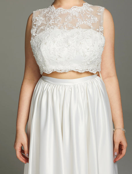Scalloped Lace Charmeuse Sleeveless Two-Piece Wedding Gown