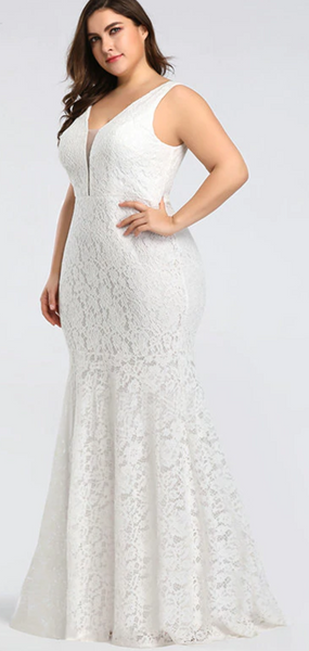 Lace Wedding Gown with Plunging Illusion Mesh Neckline and Flared Skirt