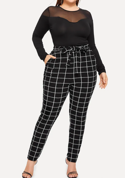 Cross-Grid Skinny Trouser with Tie-Waist