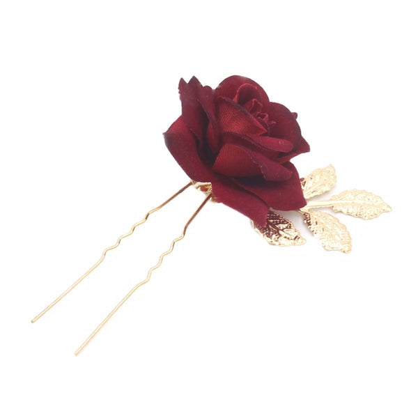 Red & Gold Rose Hair Pin