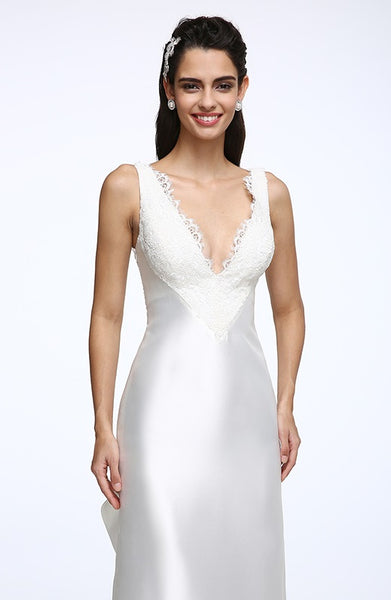 Lustrous Satin Sheath Trumpet Wedding Gown with Plunging Neckline and Ruffled Train - RDevine Fashion (Wedding & Bridal)