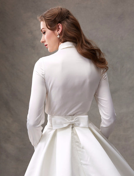 Satin Shirtwaist Ballgown with Crystal Embellished Belt and Bow Detail