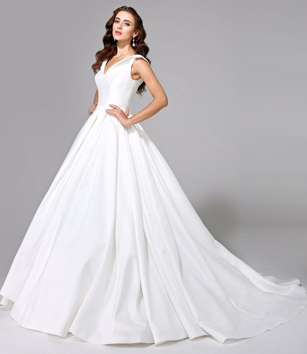 Satin A Line Wedding Gown with Open Collar & Corset Back – RDevine ...