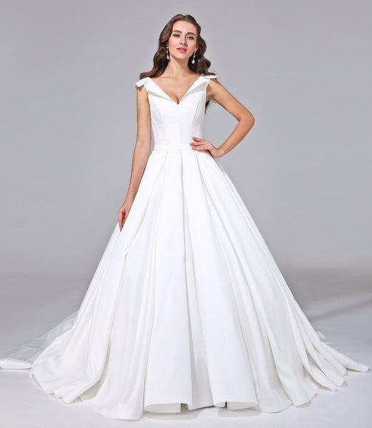 Satin A Line Wedding Gown with Open Collar & Corset Back