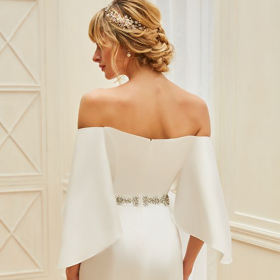 Satin Crepe Mermaid Wedding Gown with Off-the-Shoulder Flared Flutter Sleeves