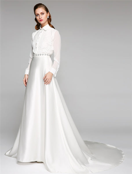 Chiffon Satin Shirtwaist Wedding Gown with Floral Lace Applique & Rhinestone Detail - RDevine Fashion (Wedding & Bridal)