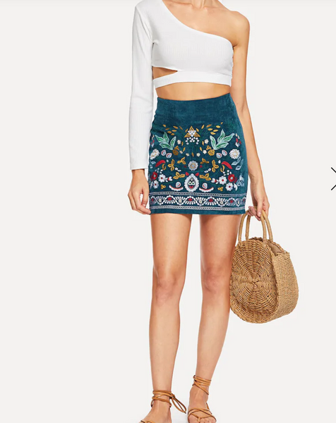 Floral Embroidered Cord Mini Skirt