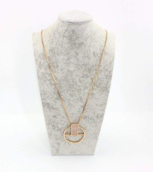 Minimalist Stone Circle Pendant - RDevine Fashion (Wedding & Bridal)