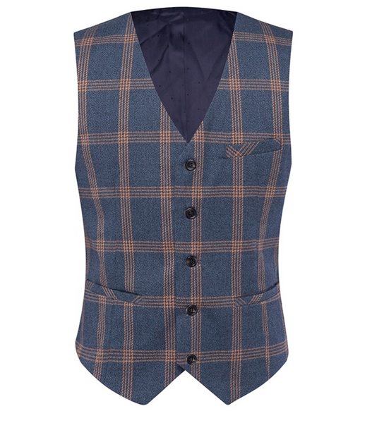 (MTM) Three Piece Plaid Single Button Suit