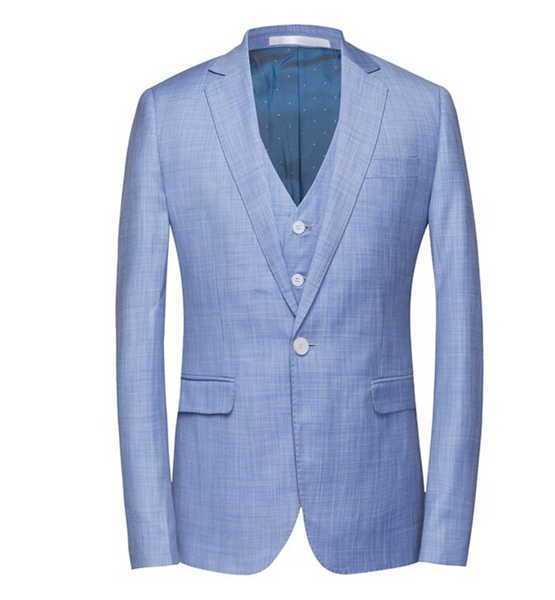 (MTM) Soft Blue Three Piece Single Button Summer Suit