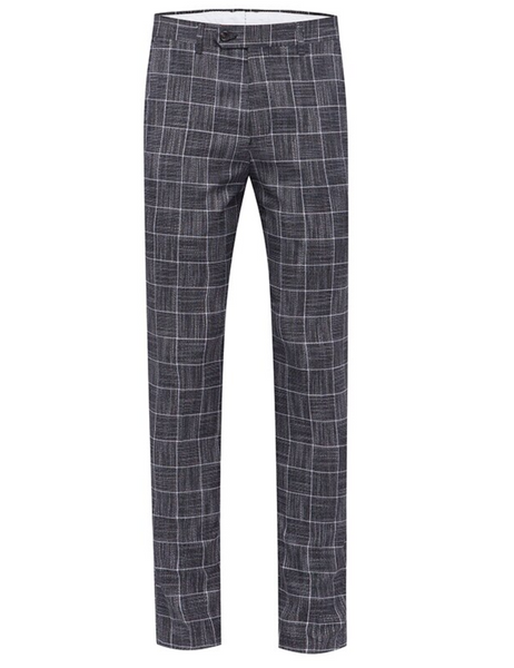 (MTM) Three Piece Stone Gray Checkered Single Button Suit