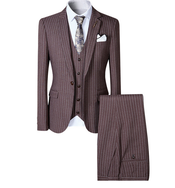 (MTM) Three Piece Brown Pinstriped Single Button Suit
