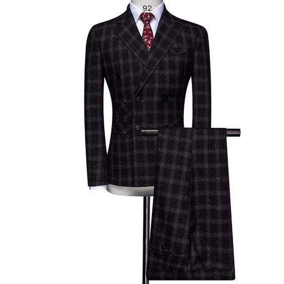 (MTM) Double-Breasted Plaid Slim Fit Suit