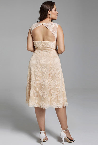 Sleeveless Lace Tea Length Wedding Dress with Keyhole Back & Satin Ribbon Tie