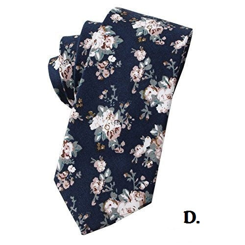 Floral Print Skinny Tie - RDevine Fashion (Wedding & Bridal)