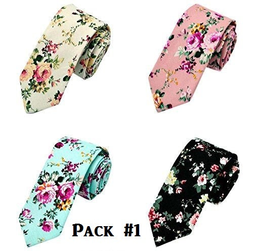 Floral Print Skinny Necktie Tie 4-Pack - RDevine Fashion (Wedding & Bridal)