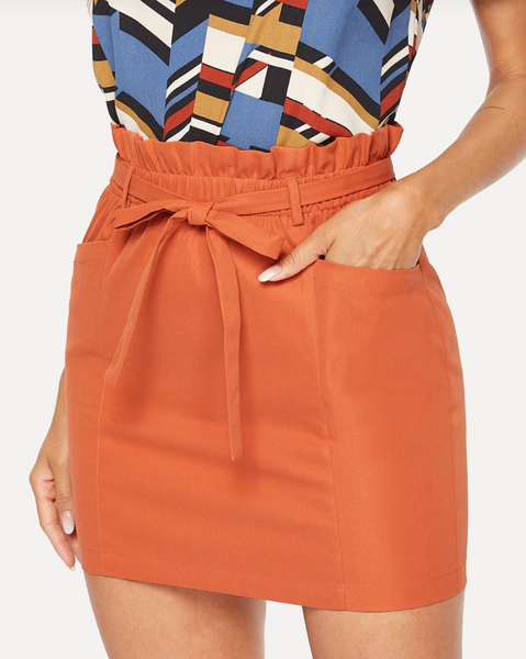 Burnt Orange Paper Bag Mini Skirt
