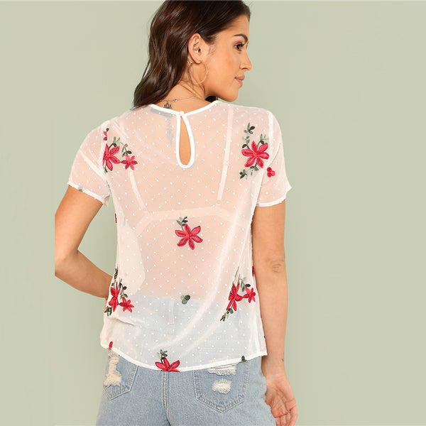 "RDevine Casual- The ""Chloe"" Floral Embroidered Sheer  Polka Dot Tee"
