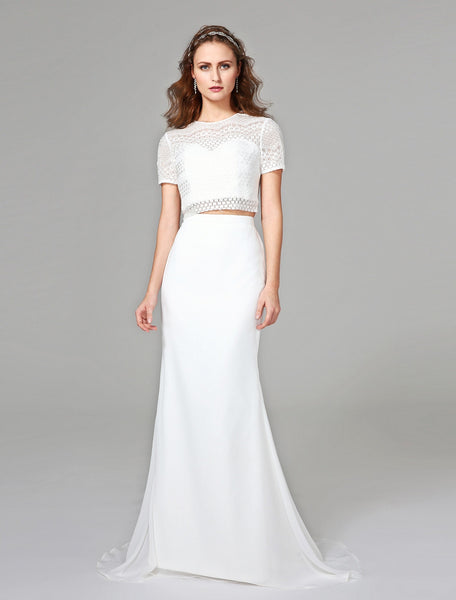Two-Piece Lace Georgette Satin Wedding Gown with Eyelet Lace & Keyhole Back