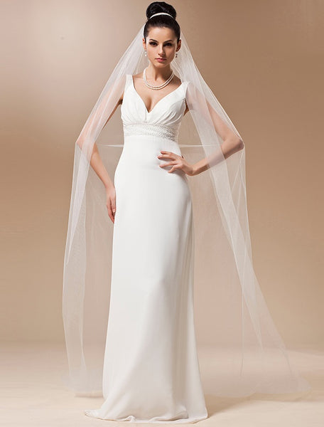 One Tier  Soft Tulle Cathedral Veil with Cut Edge - RDevine Fashion (Wedding & Bridal)