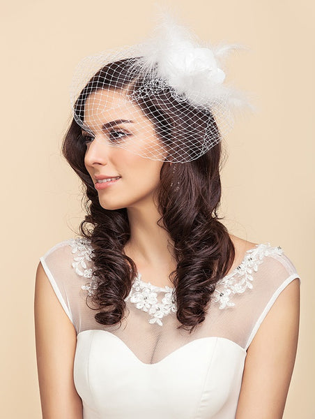 Birdcage Blusher Veil with White Rose and Feather Detail - RDevine Fashion (Wedding & Bridal)